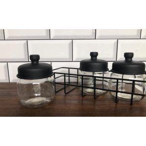 Canasta especiero con 3 frascos de vidrio con tapa negra