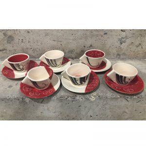 Juego de 6 tazas café con plato de cerámica. Vajilla de autor.