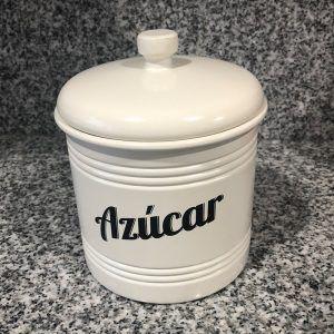 Lata / Tarro de Cocina Vintage. Color Blanco. Mediano