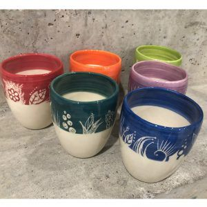 Vasos de Cerámica. Vajilla de Autor. Modelo Labrado