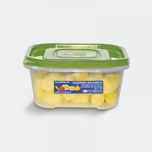 Tupper hermético apilable de 610ml. Med 14.5x14.5x6 - Apto freezer y microondas -10º a 110º. Art 576