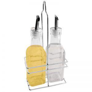 Set de aceitera y vinagrega con soporte cromado 300ml
